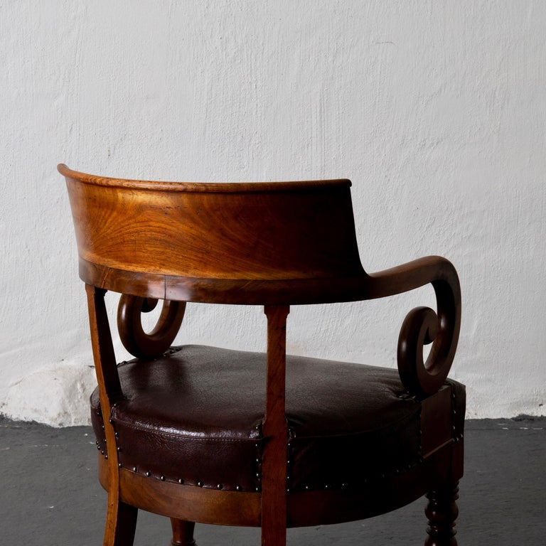 19th Century Chair Desk Swedish Mahogany Brown Sweden For Sale