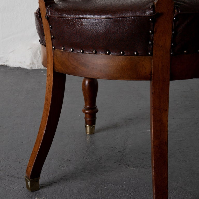 Wood Chair Desk Swedish Mahogany Brown Sweden For Sale