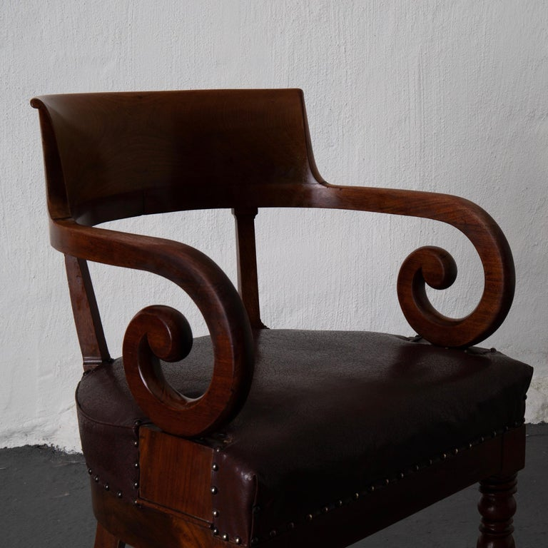 Chair Desk Swedish Mahogany Brown Sweden For Sale 1