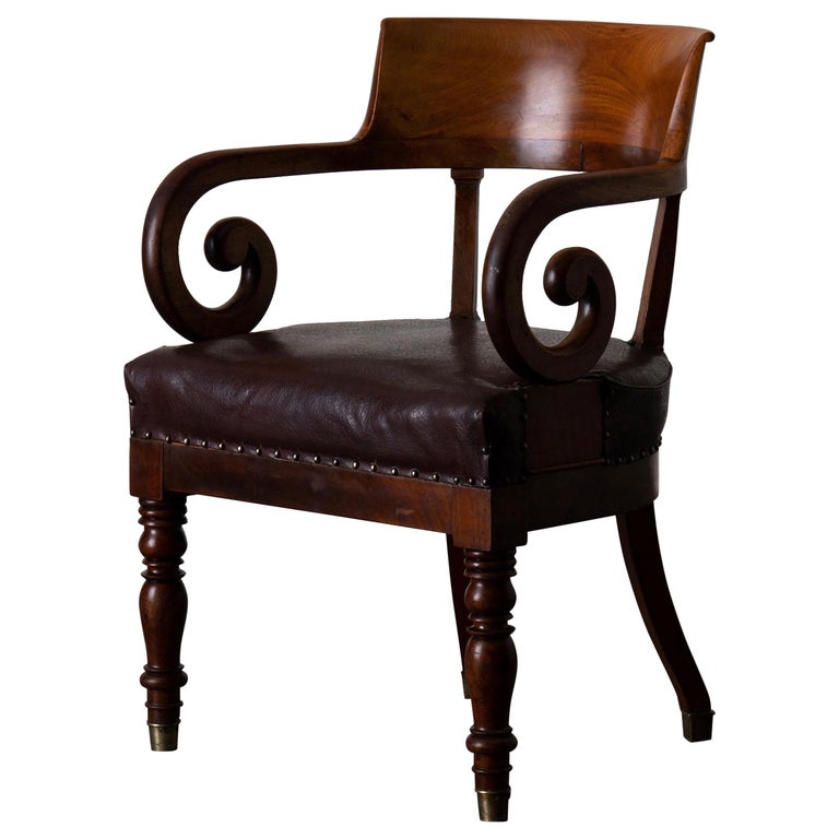 Chair Desk Swedish Mahogany Brown Sweden For Sale