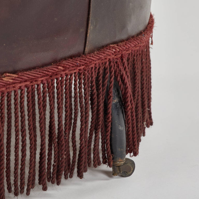 Edwardian Early 20th Century French Leather Armchair with Fringe For Sale
