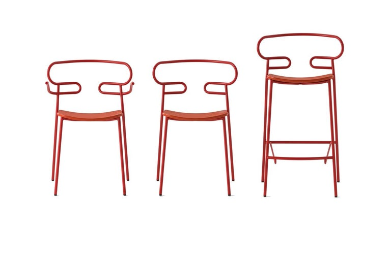 Italian Chair Genoa 0047 Metal Frame Varnish and Polyurethane Seat Black, Red, Green For Sale