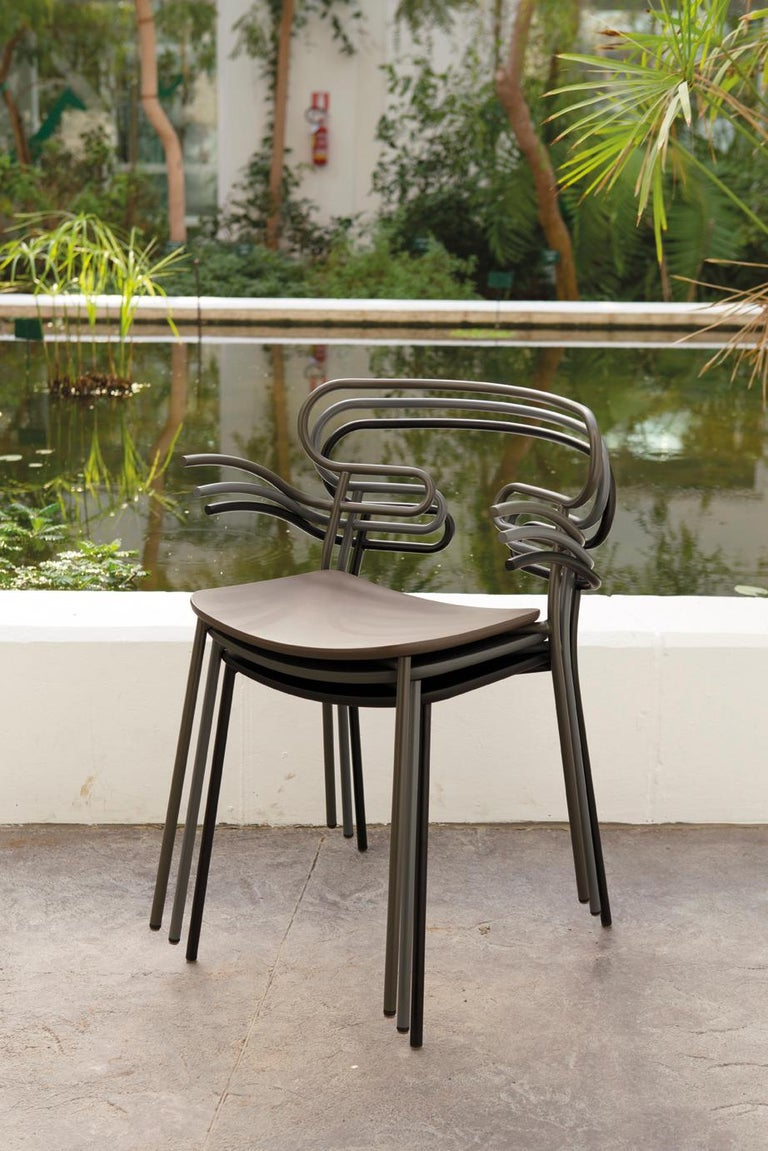 Chair Genoa 0047 Metal Frame Varnish and Polyurethane Seat Black, Red, Green In New Condition For Sale In MARANO VICENTINO, IT
