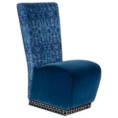 Chair Genova Eticaliving, Blue Fabric and Velvet, Made in Italy