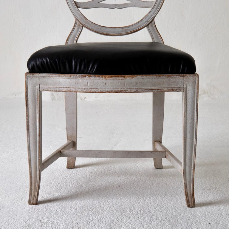Late 18th Century Chair Gustavian Swedish White Black Sweden For Sale
