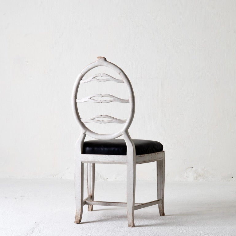 Chair Gustavian Swedish White Black Sweden For Sale 2