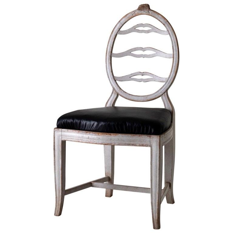 Chair Gustavian Swedish White Black Sweden For Sale