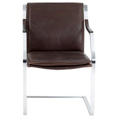 Chair in Leather and Chromed Metal, 1970s
