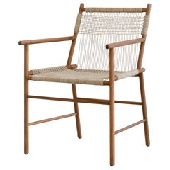 Chair in Teak with Woven Seat and Back in Rope or Cane Handmade by Studio Mumbai