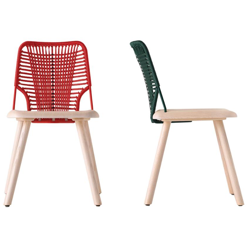 Chair Jackie in Ashwood and Color Rope by Emilio Nanni
