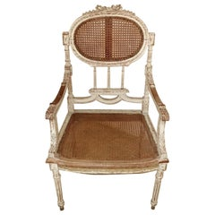"Chair Louis XVI Style Lacquered Back and Seat with ""Vienna Straw"", France"
