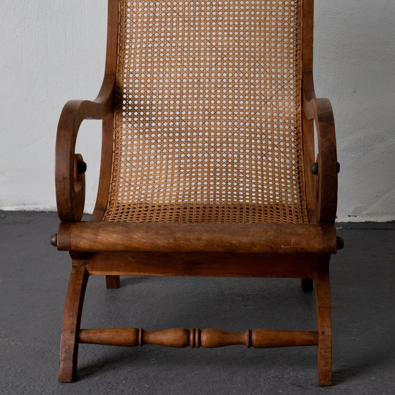 Chair Lounge Swedish 20th Century Wood Rattan, Sweden For Sale 7