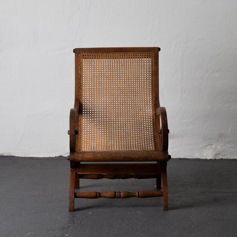 Mid-Century Modern Chair Lounge Swedish 20th Century Wood Rattan, Sweden For Sale