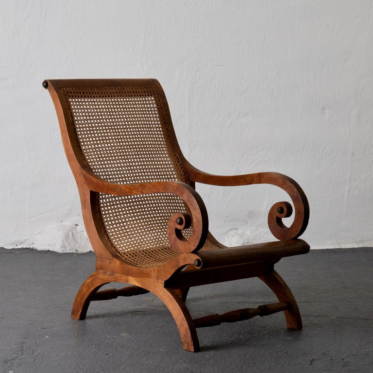 Chair Lounge Swedish 20th Century Wood Rattan, Sweden In Good Condition For Sale In New York, NY