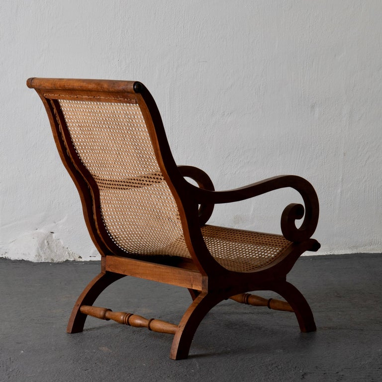 Chair Lounge Swedish 20th Century Wood Rattan, Sweden For Sale 1