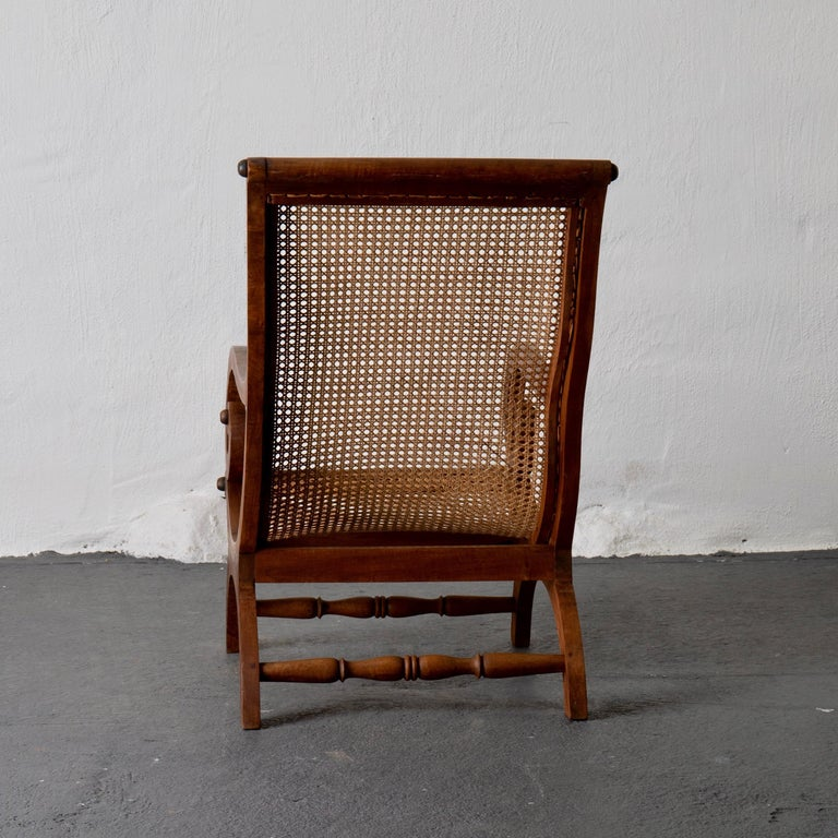 Chair Lounge Swedish 20th Century Wood Rattan, Sweden For Sale 2