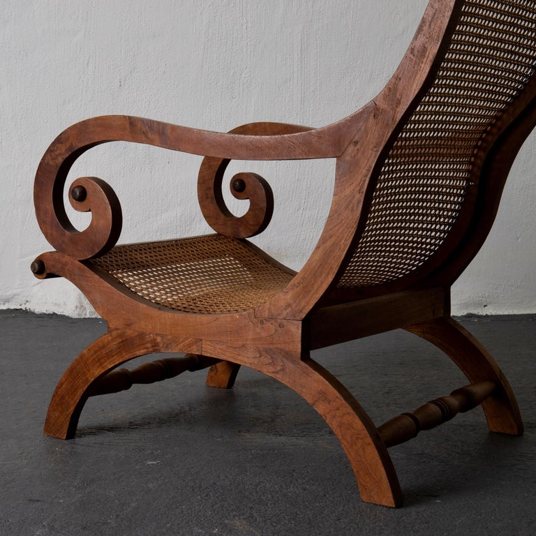 Chair Lounge Swedish 20th Century Wood Rattan, Sweden For Sale 3