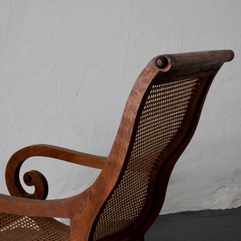 Chair Lounge Swedish 20th Century Wood Rattan, Sweden For Sale 5