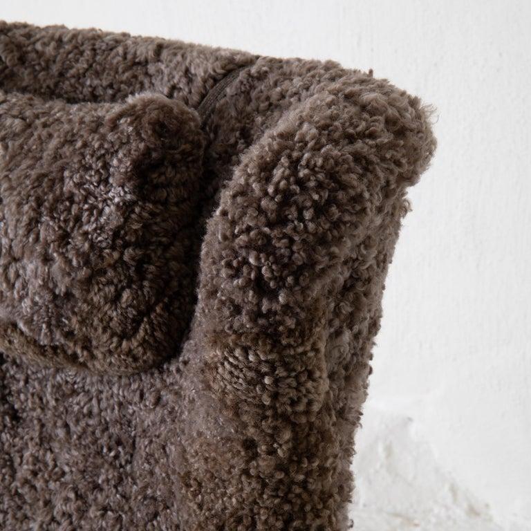 Chair Lounge Swedish Sheepskin Grayish Brown 20th Century Sweden For Sale 5