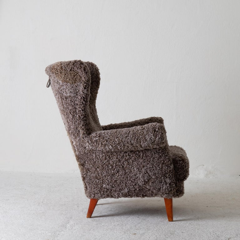 Chair Lounge Swedish Sheepskin Grayish Brown 20th Century Sweden In Good Condition For Sale In New York, NY