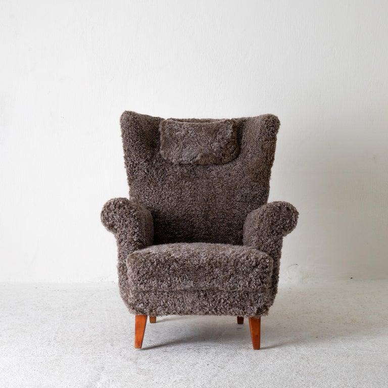 Fur Chair Lounge Swedish Sheepskin Grayish Brown 20th Century Sweden For Sale