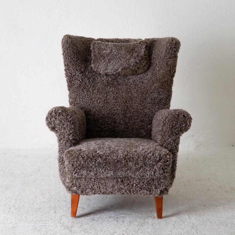 Chair Lounge Swedish Sheepskin Grayish Brown 20th Century Sweden For Sale 1