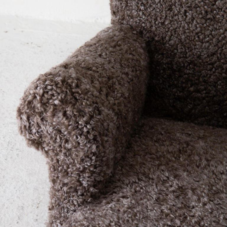 Chair Lounge Swedish Sheepskin Grayish Brown 20th Century Sweden For Sale 2