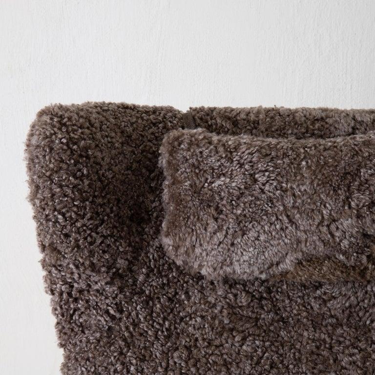 Chair Lounge Swedish Sheepskin Grayish Brown 20th Century Sweden For Sale 3
