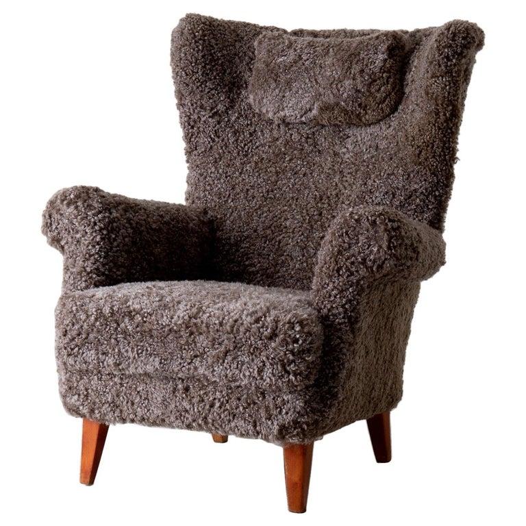 Chair Lounge Swedish Sheepskin Grayish Brown 20th Century Sweden For Sale