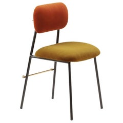 Contemporary Classic Chair Miami with Soft Upholstery and Brass Details