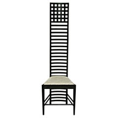 """Chair Model """"292 Hill House"""" by Mackintosh for Cassina, Italy, 1973 Wood, Cotton"""