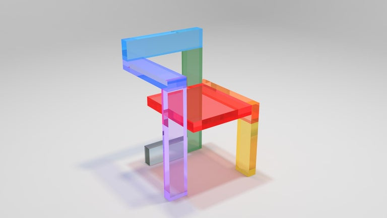 Chair re-designed by Alessandro Guerriero for the Alchimia Redesign Collection. The piece is a tribute to the famous Steltman chair designed by Gerrit Rietveld. The chair is made of colored plexiglas. Each chair has a sequence of different colors