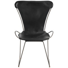 HUG Chair Old Silver Steel and Vegetable Tanned Black Saddle Leather