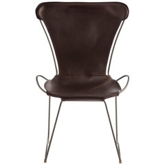 HUG Chair Old Silver Steel and Vegetable Tanned Dark Brown Saddle Leather