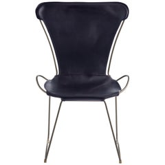 HUG Chair Old Silver Steel and Vegetable Tanned Navy Saddle Leather