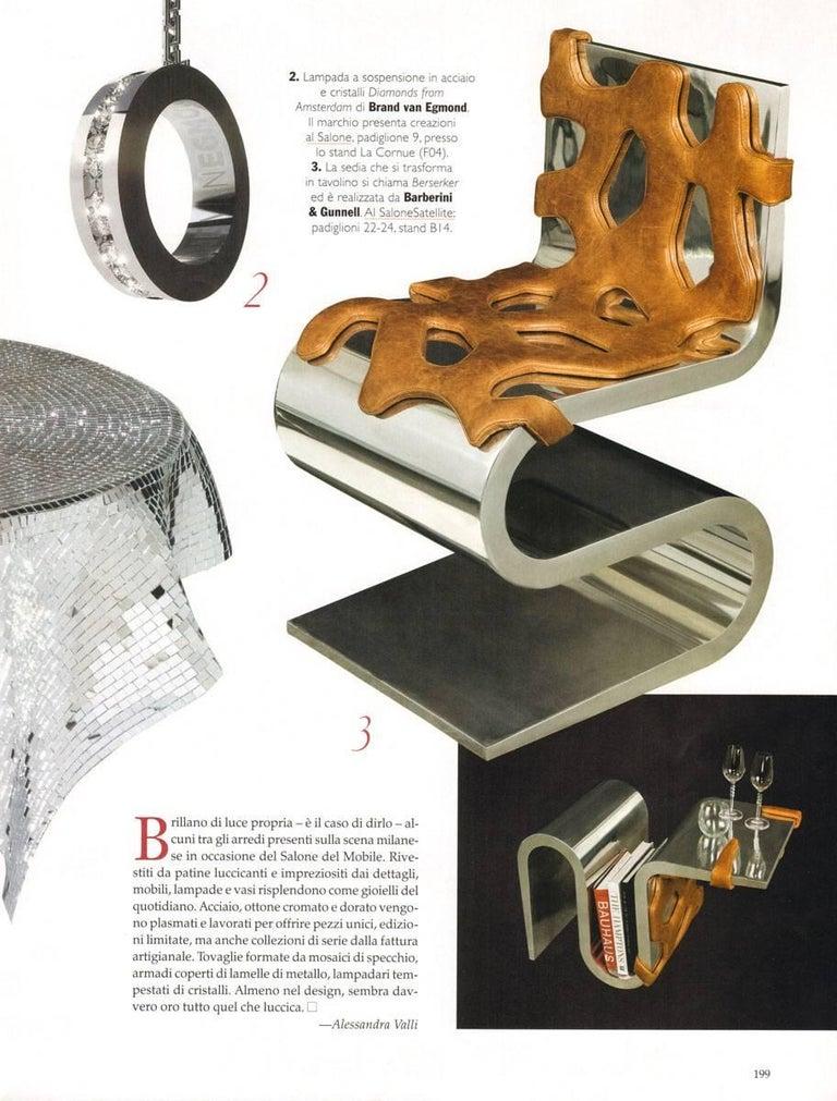 Chair Orange Leather Steel Italian Contemporary Design For Sale 5