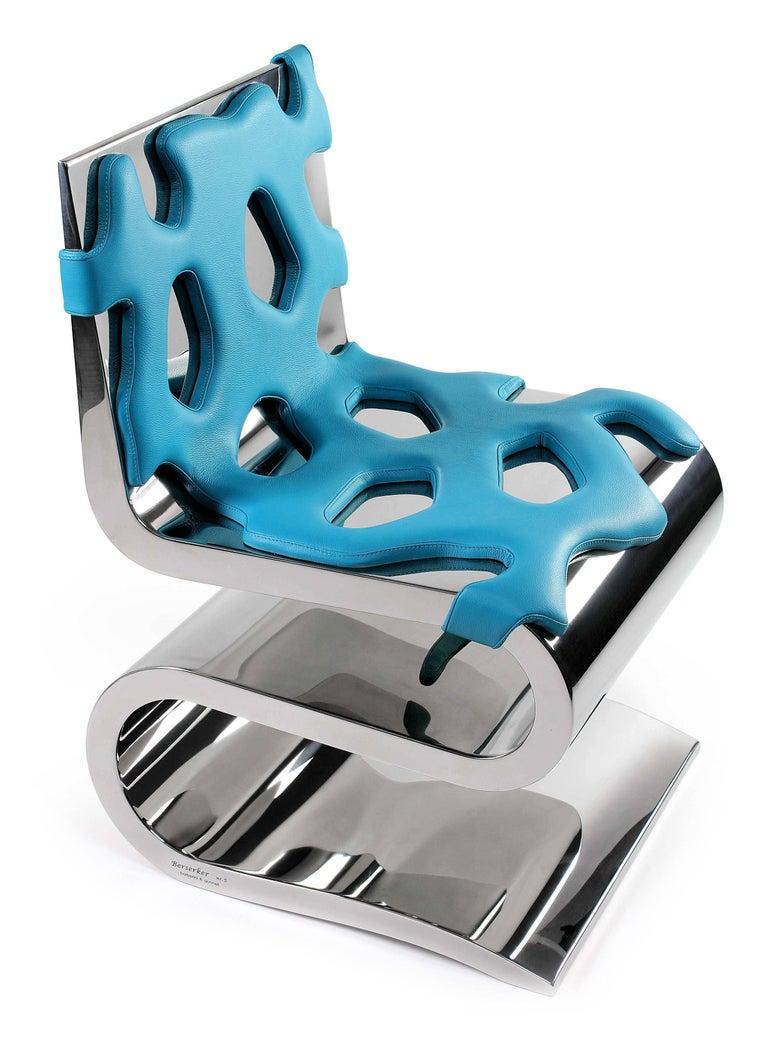 Chair Orange Leather Steel Italian Contemporary Design For Sale 1