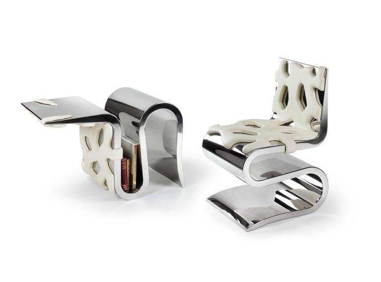 Chair Orange Leather Steel Italian Contemporary Design For Sale 2
