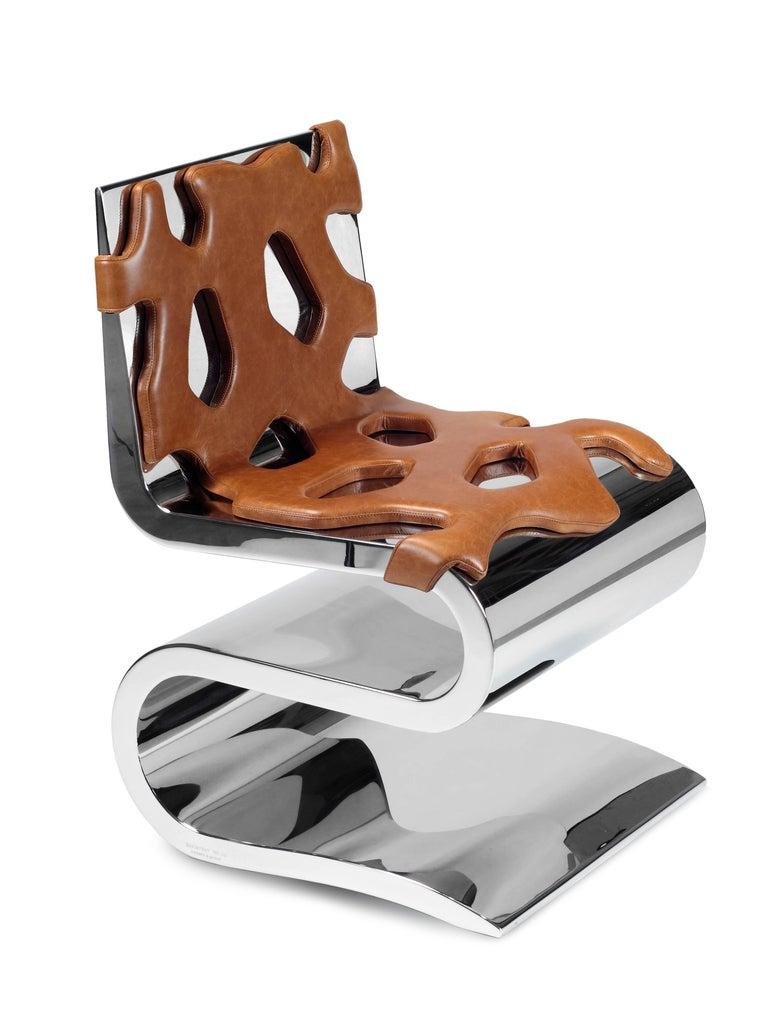 Chair Orange Leather Steel Italian Contemporary Design For Sale 3