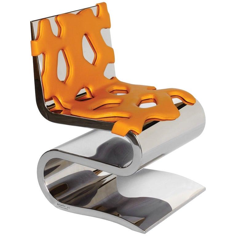 Chair Orange Leather Steel Italian Contemporary Design For Sale