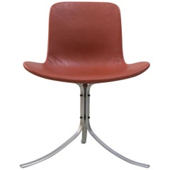Chair 'PK 9' by Poul Kjaerholm, Fritz Hansen, Steel, Leather, 1960