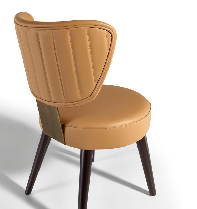 Chair Plywood Solid Timber Distressed Finish Lacquered Legs Uilting on Back In New Condition For Sale In London, GB