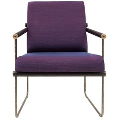 GHYCZY Chair Safari GP05, Brass Aged, Wood Oak Wenge, Purple/Blue Merged Fabric