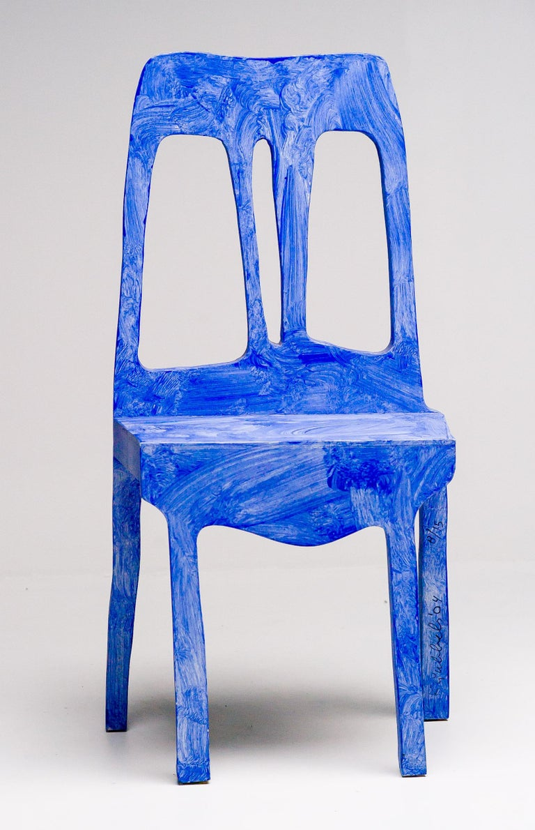 Painted Chair Sculpture by Klaas Gubbels For Sale