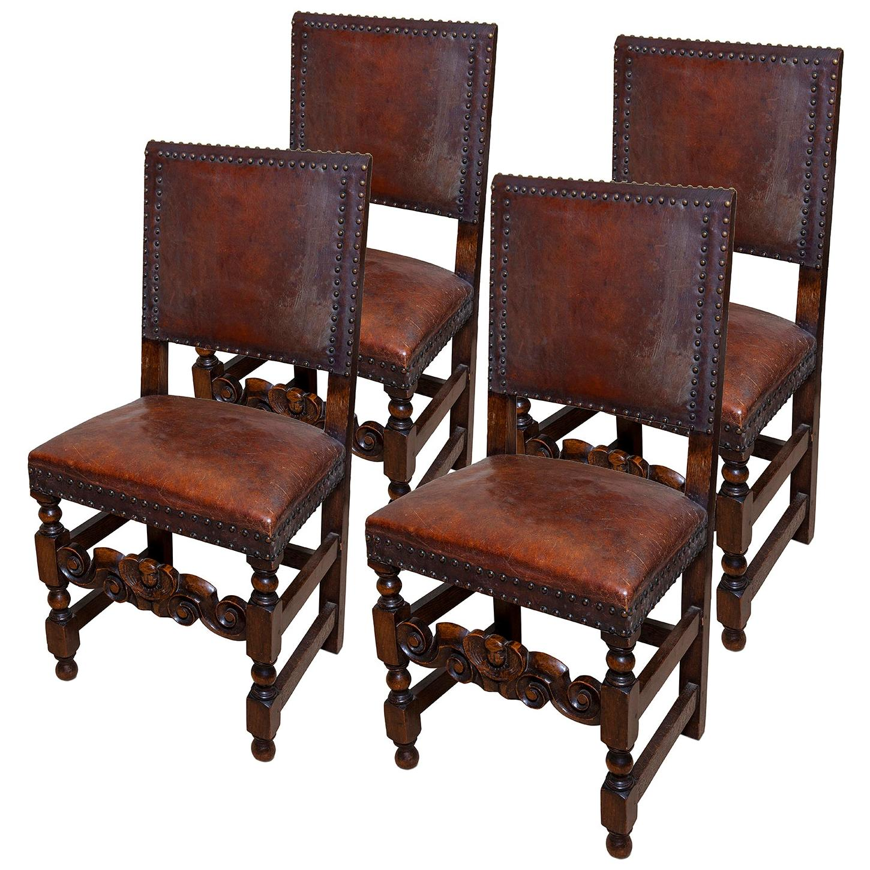 Chair Set of 4 Leather Oak English Jacobean Baroque Revival Antiquarian