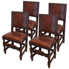 Chair Set of 4 Leather Oak English Jacobean Baroque Revival Antiquarian