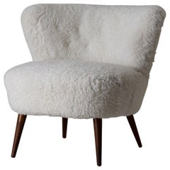 Chair Side Swedish 20th Century White Shearling Fur Sweden