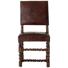 Chair Side Swedish Baroque 1650-1750 Brown Leather Sweden