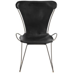 Chair, Silver Steel and Black Saddle Leather