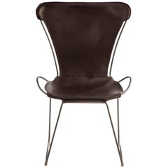 Chair, Silver Steel and Dark Brown Saddle Leather